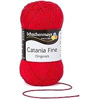 Schachenmayr Catania Fine 9807300 mano de tejer hilo, ganchillo, algodón, algodón, tomate, 12  x  6  x  6 cm
