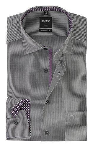OLYMP - Camicia classiche - A righe - Con bottoni - Maniche lunghe - Uomo  Nero