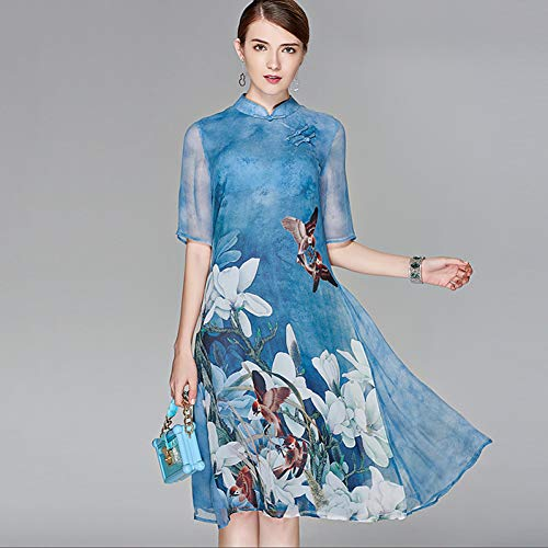 LKJH Strandkleid Damen Floral Plus Size Party Ausgehen Boho Street Chiffon Swing Kleid - Floral Print Stand Spring Silk Purple Light Blue Silk Floral Kleid