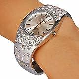 Women's Round Dial Diamante Alloy Band Quartz Analog Bracelet Watch (Assorted Colors)
