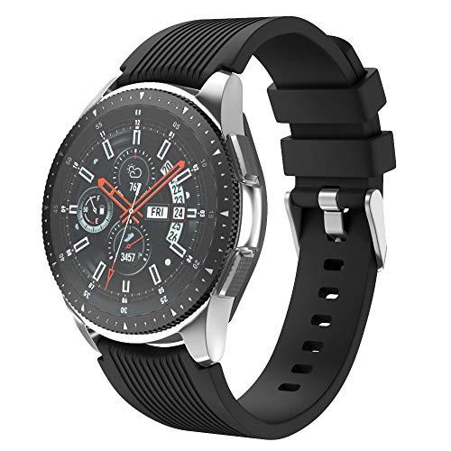 Isabake Cinturino Compatibile con Samsung Galaxy 46mm, Cinturini di Ricambio Flessibile in Silicone da 22 mm per Gear S3 Frontier/Classic S3, Huawei Watch 2 Classic/Huawei GT (Nero)