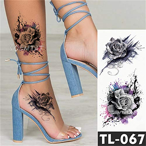 Tzxdbh 3pcs-trasferimento dell'acqua geisha guerriero stile giapponese autoadesivo del tatuaggio temporaneo colore carpa modello body art tatuaggio impermeabile 3 pz-