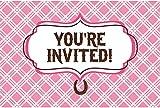 16-teiliges Einladungskarten-Set * WEISSES PFERD * für Kindergeburtstage oder Motto-Partys // Geburtstag Party Invitation weiß und rosa Schimmel