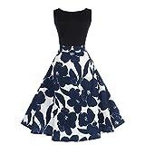 Pingtr Women Ball Gown Dress, Ladies Sleeveless Floral Elegant Vintage Tea Hepburn Dress (L)