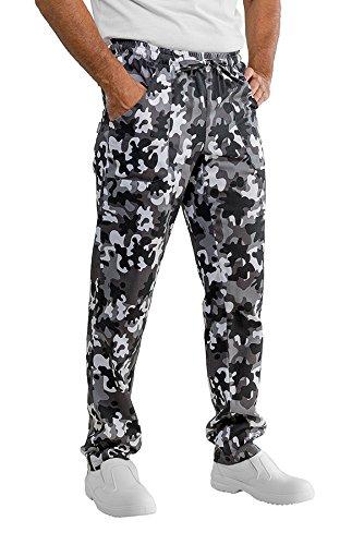 Isacco - Pantalon de cuisinier noir et blanc camouflage 100% coton Noir et blanc