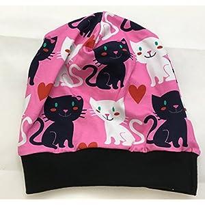 Beanie Mütze Katzen pink, auch gefüttert