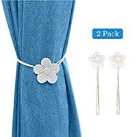 Lewondr Vintage Magnetic Curtain Tieback, 1 Pair Resin Flower Curtain Drapery Holdback Window Curtain Decorative Buckle Holder for Home Cafe Balcony - White