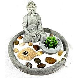 JARDIN ZEN FENG SHUI REDONDO BUDA ESKULTURA BUDA ESTATUA LUCKY BUDDHA - Tinas Collection
