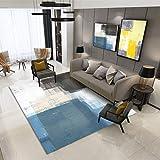 DAMENGXIANG Nordic Moderne Blau Schwarz Abstrakte Ölgemälde Kunst Teppich Für Wohnzimmer Schlafzimmer Rutschfeste Bodenmatte Wohnkultur Fuß Pad 80 × 160 cm