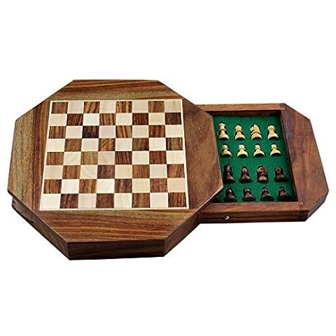 Zap Impex ® Holz Magnetic octangle Form Schachfiguren Set und Holzbrett Reisen Spiele 7-Zoll-Schach