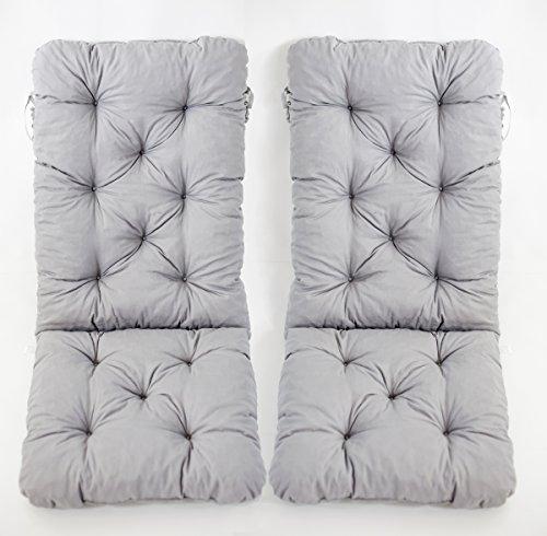 Ambientehome 2er Set Hochlehner Auflage Kissen Hanko Maxi, grau, ca 120 x 50 x 8 cm, Rückenteil ca...