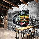 MSyikU Papel Tapiz de Seda Grandes Fondos Mural Retro Cuento Negro Y Blanco Tren De Vapor Café Bar Mural Fondo De Pantalla Fondo De Pantalla,250cm*200cm