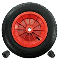 """First4spares 14"""" 3.50-8 Complete Wheelbarrow Wheel, Inner Tube, Tyre & 1/2"""" Axle Reducer Bushes for Garden Trolley/Barrow / Go Cart/Trailer Truck (Red)"""
