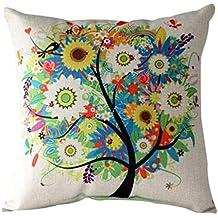 Fundas De Cojines,Xinantime Funda de almohada árbol de la flor de la historieta (Multicolor)
