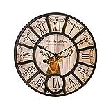 WERLM Personalisiertes Design Home dekorative Wanduhr art Clock modische Uhr runde Wanduhr creative prüfen die alte Uhr Modernes Metall Wanduhr mit dem Home Office Küche Schulen sind ideal für jeden Raum, 14 Zoll
