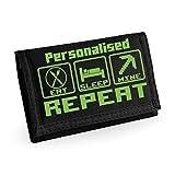 Kids Gaming Eat Sleep Mine Repeat Wallet - with Personalisation - Black/Green