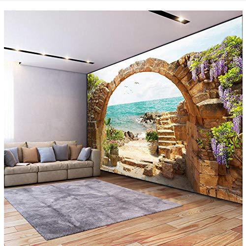 Wandbild Fototapete Garten Stein Bögen Meerblick 3D Fototapete Für Wohnzimmer Sofa Schlafzimmer Hintergrund Große Wandbilder-250cmx175cm -
