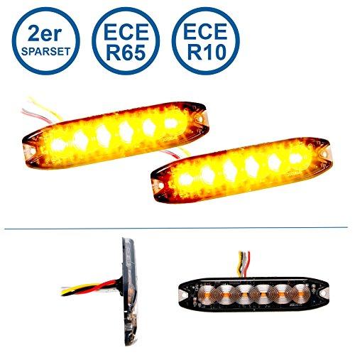 Preisvergleich Produktbild LED-MARTIN 2er Sparset R65 Blitzmodul SF6 - super flach - 12V 24V - mit ECE-R65 Zulassung - Als Frontblitzer,  Stauwarner,  Heckwarnanlage für PKW,  LKW geeignet.