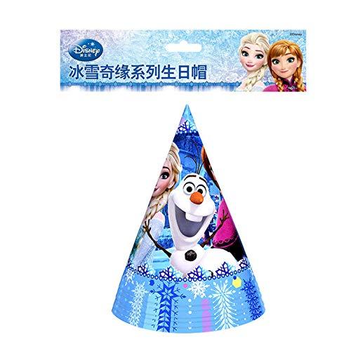 nzessin Anna Elsa Einweg Tischdecke Tasse Teller Thema Party Baby Shower Geburtstag Party Dekoration Versorgung, Hüte-6Pcs ()