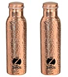 #8: Zafos Pure Copper Hammered Yoga Water Bottle -1000ml (Set of 2), Joint Free & Leak Proof for Ayurvedic Health Benefits