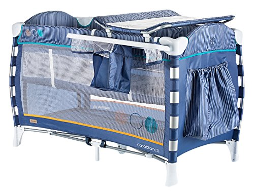Chipolino travel cot Casablanca, changing mat, accessory bags, side entrance blue Chipolino Includes a soft luxurious changing mat Side entrance with zipper creates additional comfort for the child Practical side storage for diapers and other accessories 1