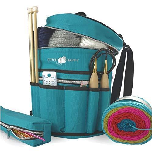 Multi-tasche Reißverschluss (Stitch Happy Designer Stricken Tasche Garn Storage mit 7Multi Taschen und innen extra große Reißverschluss Tasche für Crochet Supplies Organizer schützt Crochet Gewinde Wolle Garn)