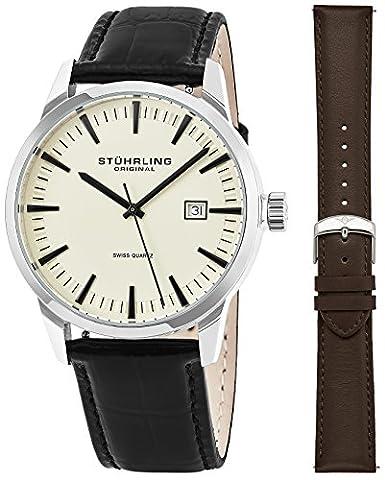 Stuhrling Original Classic Swiss Dress montre bracelet à quartz pour hommes, EN ACIER INOXYDABLE avec lanière de cuir véritable (Ivoire)