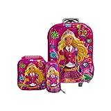 Kuresh Toy 6 Wheel Expandable Zip School Trolley Plastic Bag for Kids (Pink 3)