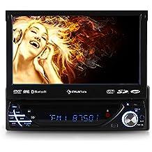 "auna MVD-220 autorradio con pantalla tactil 7"" abatible (DVD, Bluetooh, USB, SD, reproductor multimedia, panel desmontable, DIN simple, AUX frontal, FM, micrófono integrado)"