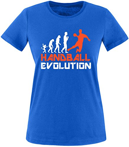 EZYshirt® Handball Evolution Damen Rundhals T-Shirt Royal/Weiss/Orange