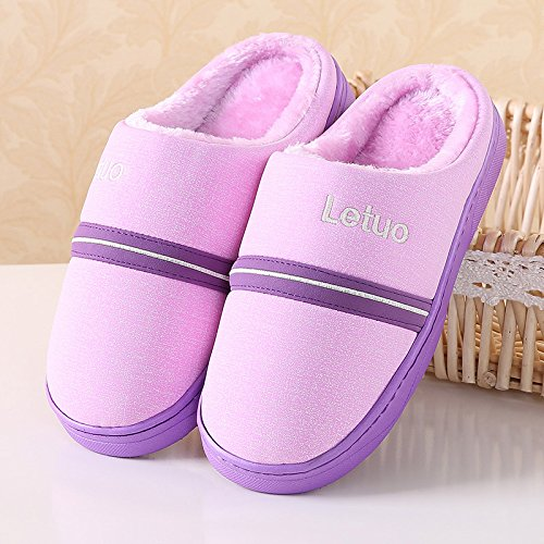 Fankou carino in autunno e inverno il cotone pantofole donne inverno non addensante - Slittamento indoor di uomini e donne alla moda in pelle impermeabile per uso domestico pantofole di cotone Rosa