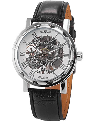 EASTPOLE Skelett Elegante Klassisch mechanische Handaufzug Herrenuhr Armbanduhr Uhr + EASTPOLE Geschenkbox PMW027