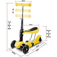 Tomasa 3 en 1 Patinete scooter con LED Ruedas y Asiento Desmontable Altura de Manillar Ajustable Scooter 3 Ruedas para Niños Niñas de 3 a 8 años (Amarillo)