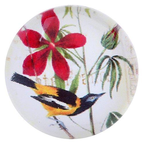 Morella dreambase vetro Click-button bottone automatico uccello con fiore - Button Uccello
