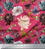 Soimoi Pink Heavy Canvas Stoff Leaves & Peony Floral Stoff