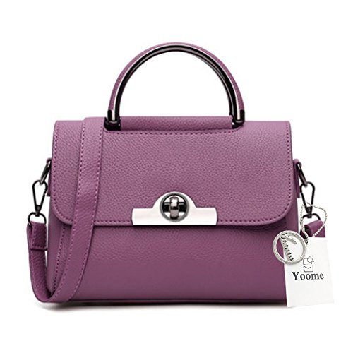 Sacchetti alla moda Yoome per le ragazze Lichee Patern Top Bag Handle Borse eleganti in pelle Vegan per le donne - Borgogna Viola