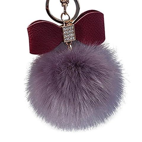 Hairy Boule Porte-clés, Pak _ Youth en peluche Porte-clés Sac de voiture Charm pendentif Cadeau, D Light Pink, 255x190x25mm
