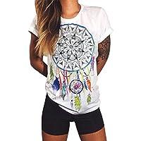 GRMO Women Slim Fit Print Summer Casual Fashion Short Sleeve T-Shirt Top Blouse 1 4XS