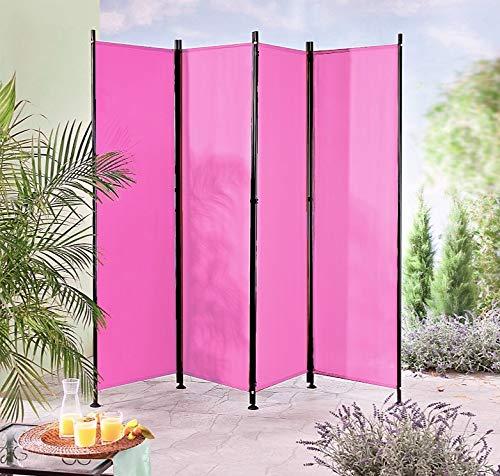 IMC Paravent 4-TLG. pink Trennwand Raumteiler Sichtschutz Terrasse Balkon Magenta