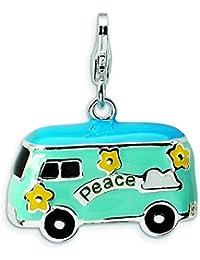 Broche de plata de ley 3-D esmaltado con cierre de broche con forma de autobús de la Paz para pulsera - mide 25 x 21 mm - JewelryWeb
