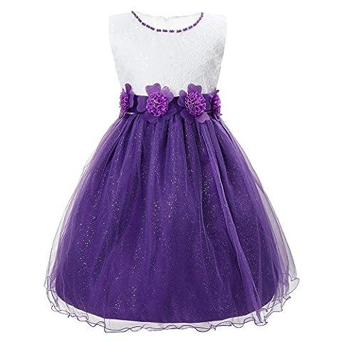 OKIDSO Prinzessinnen-Kleid,Blumenmädchen-Kleid, Partykleid, Kostüme, ärmellos