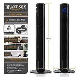 Brandson - Turmventilator mit Fernbedienung | Oscillating Tower Fan | 45W | 3 Geschwindigkeitsstufen (LOW / MEDIUM/ HIGH) + Timer + 3 Betriebsmodi + 60° oszillierend (zuschaltbar) | 3,5