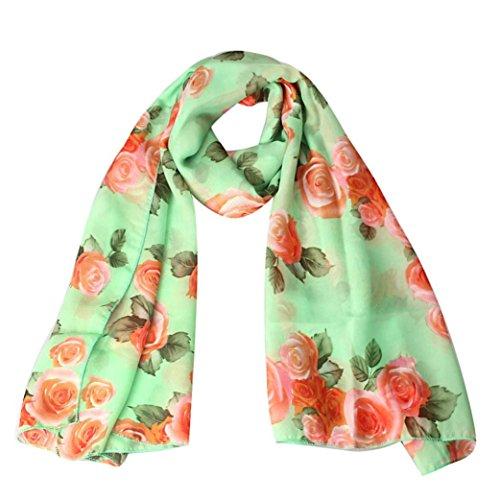 Bufandas para Mujer,Xinan Collar Rosa Largo Gasa Robó las Bufanda Mantón (Verde)