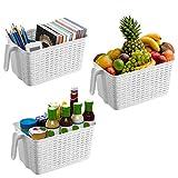 Kurtzy 3 Pack (30x19x14.5cm) Kunststoff aufbewahrungskorb/box, kühlschrank Speisekammer plastik korb, klein Küchen Organizer Aufbewahrungskörbe, Stapelbare Korb für Schlafzimmer, Büro, Schrank.