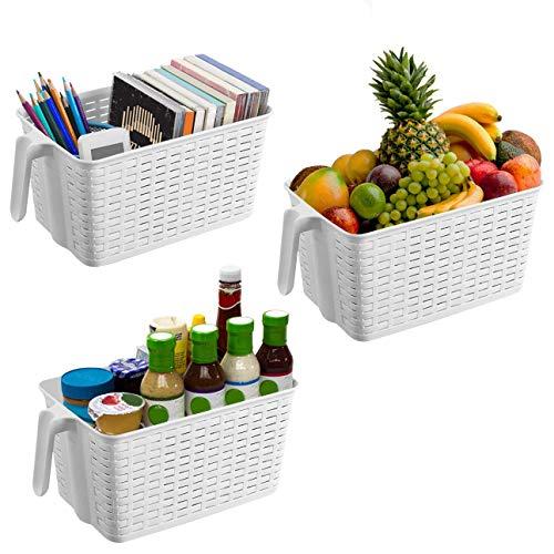 Kurtzy 3 Pack (30x19x14.5cm) Kunststoff aufbewahrungskorb/box, kühlschrank Speisekammer plastik korb, klein Küchen Organizer Aufbewahrungskörbe, Stapelbare Korb für Schlafzimmer, Büro, Schrank. (Speisekammer-organizer-körbe)