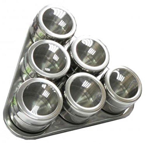 7teilig dreieckiges Magnet Gewürzregal Gewürzbord 6 Gewürzdosen magnetisch Gewürzständer Edelstahl
