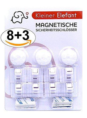 Kleiner Elefant 8+3 magnetisches Schrankschloss und unsichtbare Kindersicherung für Babys. Ohne Bohren, kein Werkzeug.