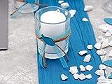 ZauberDeko Tischdeko Kommunion Konfirmation Petrol Blau Grau Baum des Lebens Set 20 Personen Fisch - 5