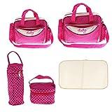 Homyl 5 teilig Große Kinderwagentasche Wickeltasche mit Henkel Mummy Schultertasche Babytasche Umhängetasche Reisetasche für Unterwegs - Rose