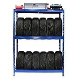 Rayonnage pour pneus | HxLxP 180 x 130 x 50 cm | Jusqu'à 12 pneus | Avec étagère -...